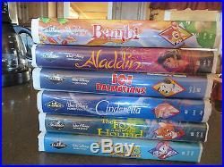6-Walt Disney, Black Diamond Classic-Cinderella, Bambi, 101 Dalmations, Aladin, VHS