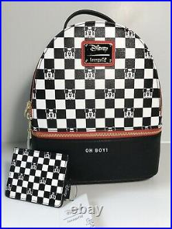 DISNEY Loungefly Classic Mickey Mouse Checkered OH BOY Mini Backpack Cardholder