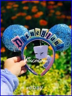 Disney Parks Classic Disneyland Wall Sign Marquee Minnie Sequin Ears Headband