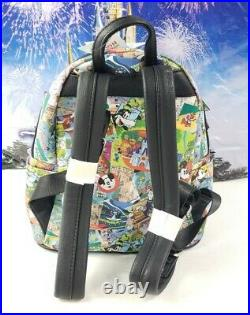 Disney Parks Classic Mickey Attraction Collage Art Loungefly Backpack Retired