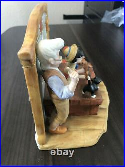Schmid Disney Pinocchio and Geppetto Work Shop Music Box With COA