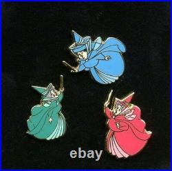 WDCC Disney Sleeping Beauty Flora Fauna Merryweather Fairies Mini Fairy Pin Set