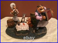 WDCC Lady and The Tramp Joe, Tramp, Lady & Tony Bella Notte & Base MIB
